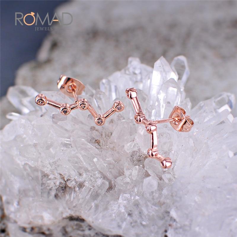 Модные серьги с созвездиями зодиака цвета розового золота для женщин Brincos кубический цирконий CZ Кристалл ювелирные изделия гвоздики Z4 - 5