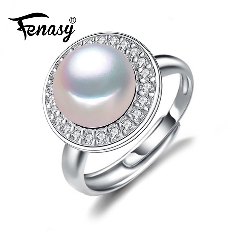 FENASY romantic freshwater pearl ring 925 Sterling Silver Ring cultured genuine Real Pearl Rings For Women Wedding Ring jyx 9 5mm pink genuine freshwater pearl ring shiny crystal in 925 sterling silver jewerly