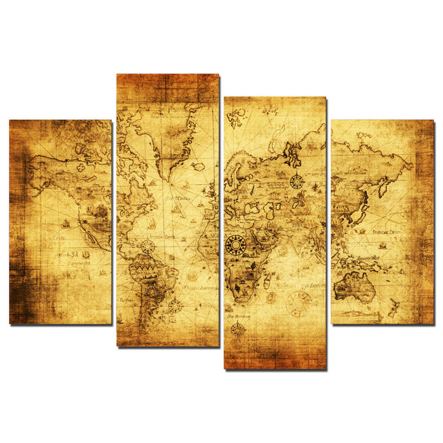Old World Map Canvas.4 Panels Yellow Old World Map Canvas Print Painting For Living Room