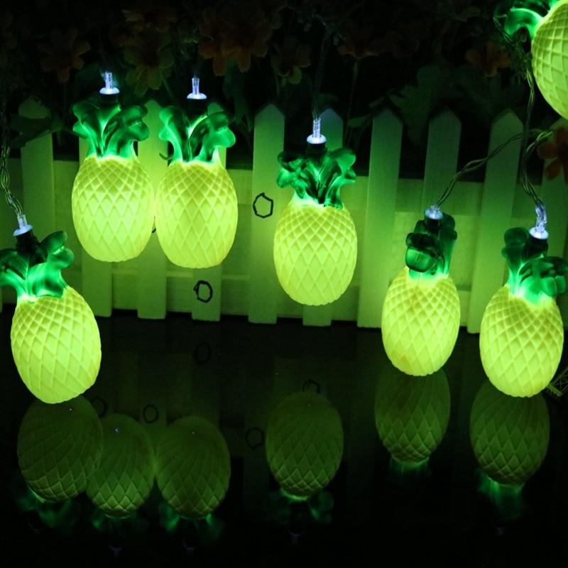 Pineapple String Lights Fairy Holiday Led Tropical Fruit Light Patio  Lanterns Garden Lights AA Battery Powered