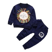 hot deal buy toddlers baby clothing sets/2pcs coat+pants fashion print baby boy kid autumn winter suit fall cotton sport tracksuit outwear