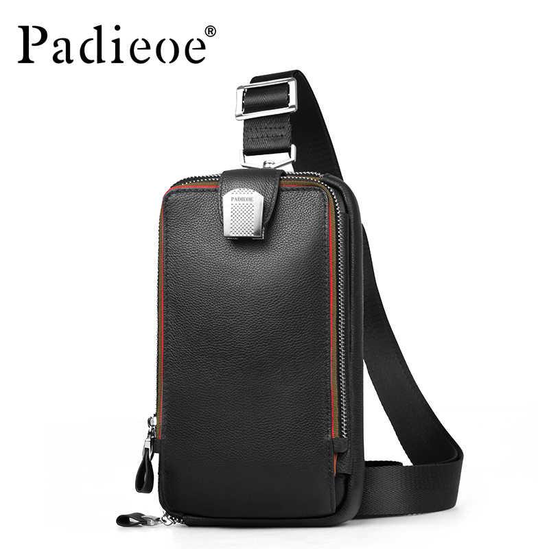PADIEOE мужская кожаная сумка на грудь Повседневная сумка через плечо мужская  сумка-клатч высокое качество 746af13c6c5
