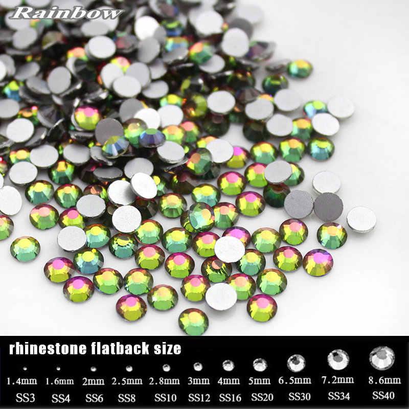 SS3-SS30 Rainbow (1,3-6,5 мм) с плоским основанием, для ногтей художественные украшения камень не горячей фиксации приклееные Стразы для украшения для одежды