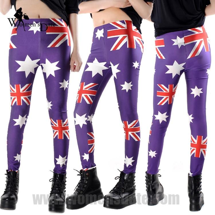 WomensDate Promosyon Fiyat Sonbahar Kadınlar Egzersiz Tayt Kız Elastin Nefes Tozluk Baskılı Avustralya Bayrağı Tayt Pantolon