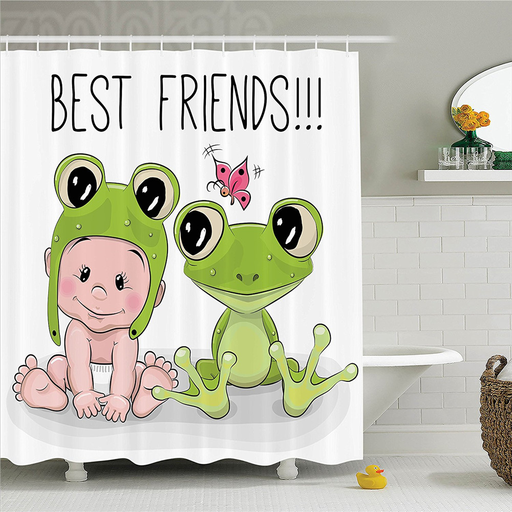 Animal Decor Shower Curtain Set Cute Cartoon Baby in Froggy Hat and Frog Best Friends Love Theme Graphic Print Bathroom Accessor