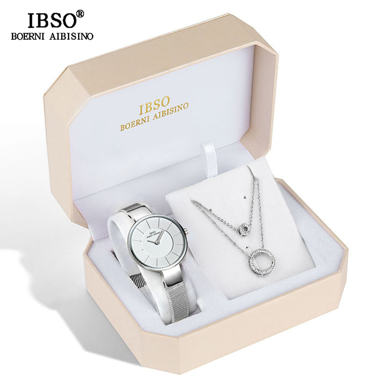 IBSO Brand Women Quartz Watch Set Crystal Design Bracelet Necklace Set Female Jewelry Set Fashion Quartz Watch Wife's Gift