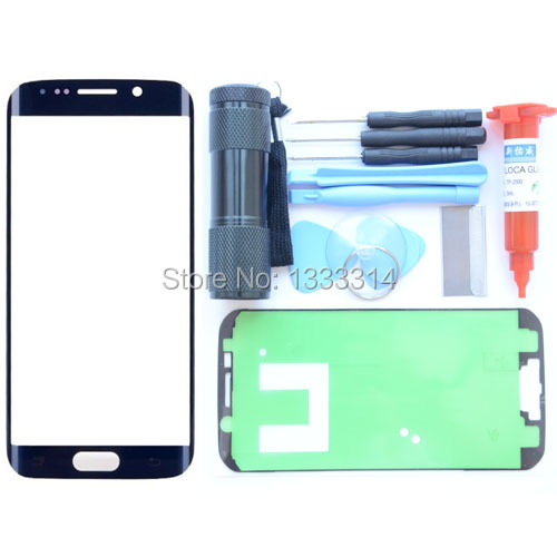 For Samsung GALAXY S6 EDGE Replacement Screen Front Glass Outer Lens Repair Kit BLUE UV Torch