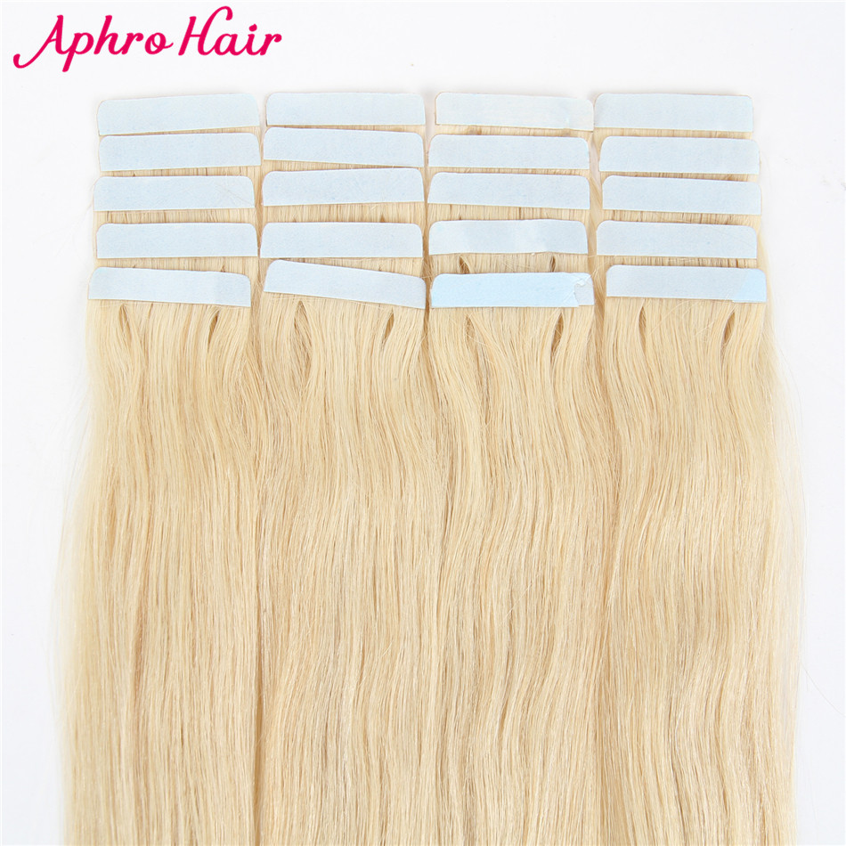 Aphro Hair Tape In Human Hair Extensions 20 pieces Brazilian Hair Straight 20 inch 613 Skin