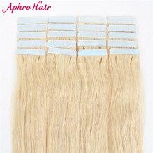 """Aphro волос Ленты в Пряди человеческих волос для наращивания 20 шт. бразильские волосы прямые 20 """"дюймов #613 Кожа Уток-remy Ленты волос"""
