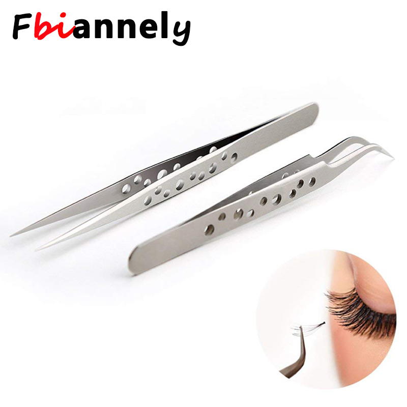 Electronics Industrial Tweezers Anti-static Curved Straight Tip Precision Stainless Eyelash Forceps Phone Repair Hand Tools Sets stainless steel handle ceramic heat resistant tip curved tips tweezers silver industrial repair tools