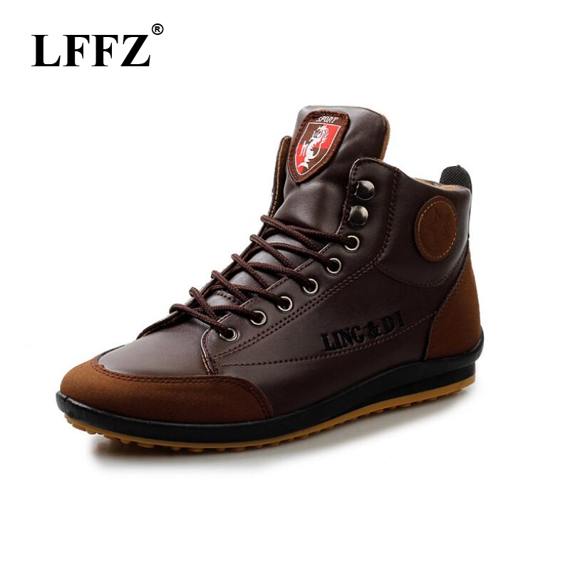 LFFZ New 2018 Men Leather Boots Autumn Winter Warm Cotton Brand Ankle Boots Lace Up Men Shoes Footwear Free Shipping Wyq154