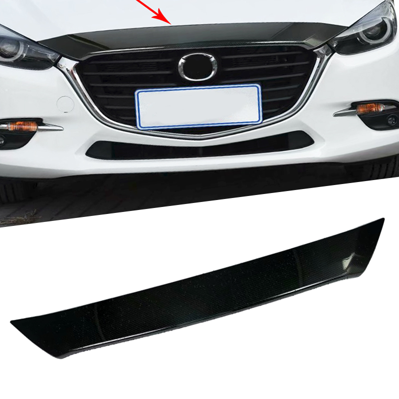 ABS Carbon Fiber Front Grille Head Engine Car Hood Lid Molding Cover Trim Head Cover Trim For Mazda 3 M3 Axela 2017 accessories for chevrolet camaro 2016 2017 abs carbon fiber style the co pilot central control strip molding cover kit trim