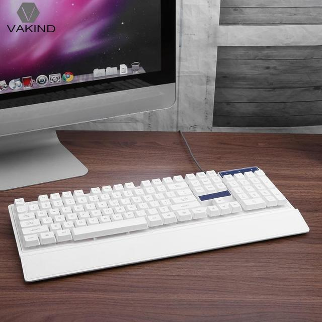 104 Key Wired USB Gaming Keyboard with LED Backlight White Computer Teclado Gamer with Wrist Support for Laptop Notebook PC