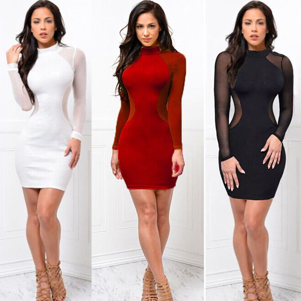 2018 New Women <font><b>Sexy</b></font> Skinny Bodycon Long Sleeve Sheer See Through Party Slim <font><b>Club</b></font> <font><b>Wear</b></font> Casual Short <font><b>Mini</b></font> <font><b>Dress</b></font> image