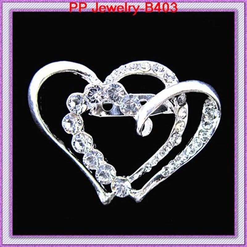 Высококачественная Блестящая серебряная брошь в форме сердца из кристаллического сплава, 6 шт./партия