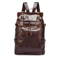 Новинка 2019 года ретро 100% пояса из натуральной кожи Корейская версия для мужчин рюкзак большой ёмкость кожаный рюкзак для путешествий Сумки
