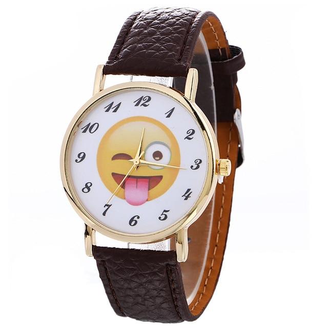 2017 New Women Watches Cute Emoji Fashion Casual Quartz Watch Female Clock PU Le