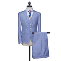 FOLOBE Light Blue Terno Para Casamento Handsome Summer Linen Mens Slim Suits Tuxedos Groom Wedding Suits Formal Business Suits