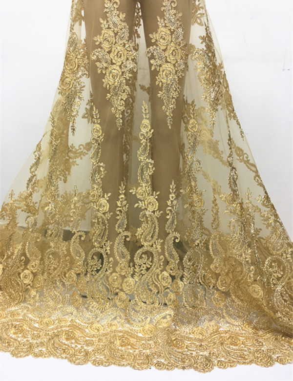 DPN3101 Gold thread African Tulle Lace fabric for party dress,2016 New arrival net mesh lace wholesale and retail