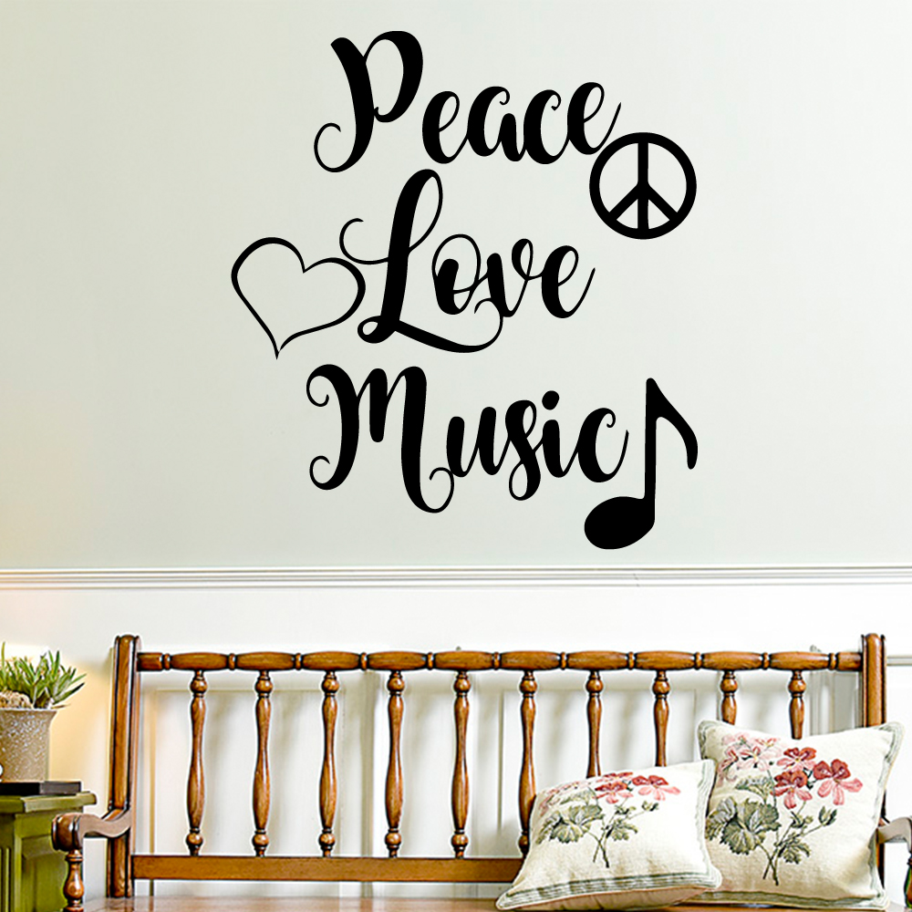 Wall Decal Peace Love Music Wall Mural For Living Room Vinyl Stickers Home Decor Bedroom Wall Stickers adesivo de parede in Wall Stickers from Home Garden