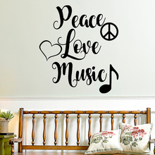Wall Decal Peace Love Music Wall Mural For Living Room Vinyl Stickers Home Decor Bedroom Wall Stickers adesivo de parede 3d plane family wall stickers mural art home decor vinyl stickers wall decals kids room decor living room adesivo de parede