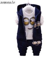 Spring Autumn Children Girls Boys Minion Suits Infant Newborn Clothes Sets Kids Vest T Shirt Pants