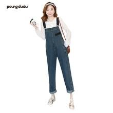 Poungdudu Брюки для беременных джинсовые брюки с нагрудником Комбинезоны для беременных женщин хлопок Регулируемый ремень плюс размер джинсовая одежда