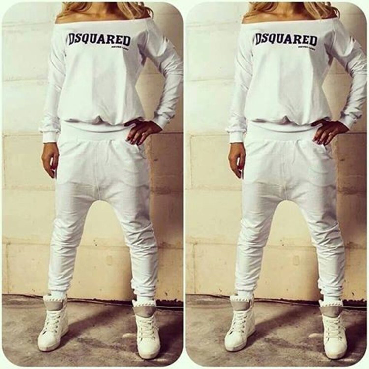 2015 New O neck Long sleeve Solid Women Sport Suit Tracksuit Sweatshirt And Pant 2 Pieces