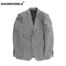 SHOWERSMILE High Quality Mens Wool Blazers Herringbone Stripes Gray Wool Coats And Suit Jackets Vintage England Clothing Brands(China)