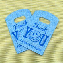 "Free Shipping 150Pcs/lot Small Plastic Bag 9X15cm Blue ""Thank You"" Print Boutique Jewelry Packaging Bag Cute Plastic Gift Bags(China (Mainland))"