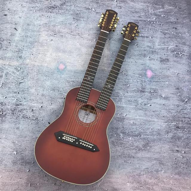 High-end personalizado fosco WX22E92 cabeça de casal, o dobro da força, folk guitarra de madeira,