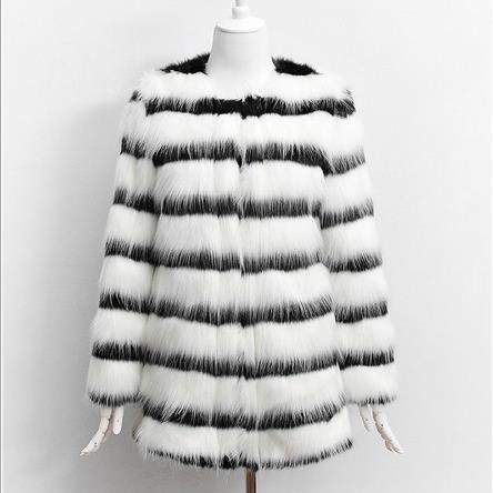 Surdimensionné Femmes J100 Manteaux Tricoté Hiver Vestes Rayé Noir Multi Fourrure De Blanc Manteau Survêtement 2018 Renard Furry Femme Faux BxadwvqBT
