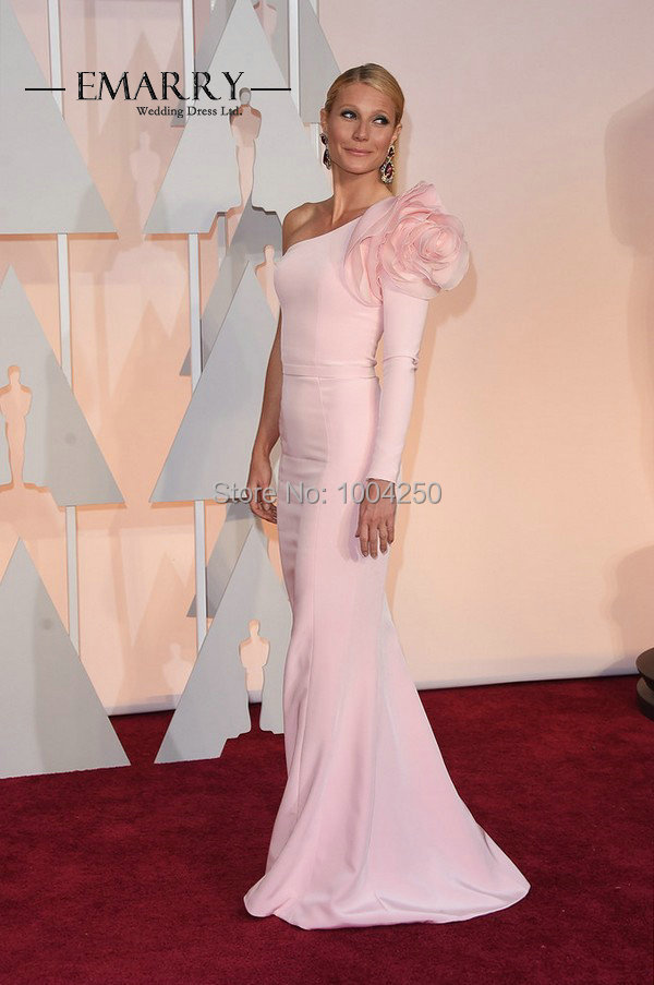 Gwyneth Paltrow Oscars Dresses 2016 Elegant One Shoulder Long Sleeve  Mermaid Pink Evening Party Red Carpet Gown with Big Flower-in Celebrity-Inspired  ... 416bf43f5a41
