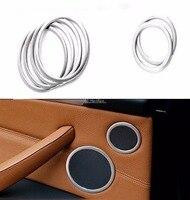 For BMW X5 X6 2009 2014 Stainless Inner Car Speaker Audio Ring Cover Trim 6pcs