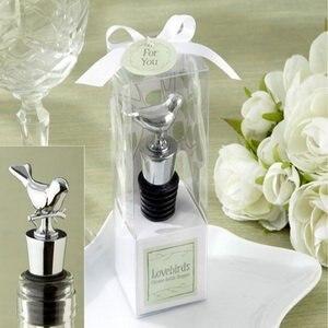 """100 шт./лот)+ Свадебные сувениры """"Lovebirds"""" Хромированная пробка для бутылки вина прием гостей в доме невесты подарок для гостя"""