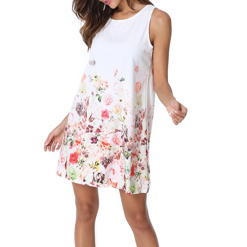 T Dresses Sexy Lolita Clothing Summer Beach Prin Chiffon Party Dress Women And Girls European Sleeveless Printing