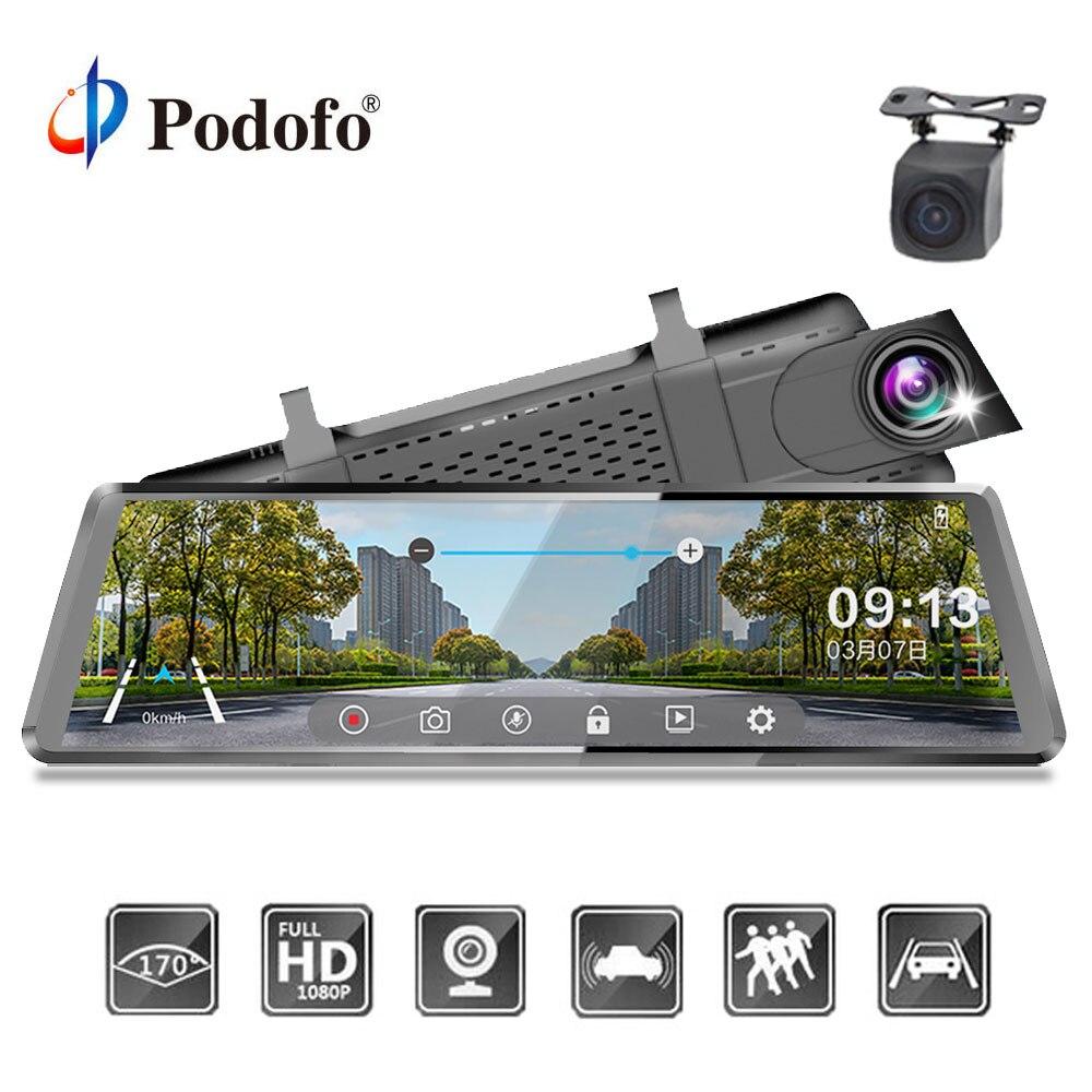 Podofo Автомобильный Dvr поток зеркало заднего вида двойной объектив dashcam регистратор 10 ''ips сенсорный экран FHD 1080P Автомобильный видео регистрат...