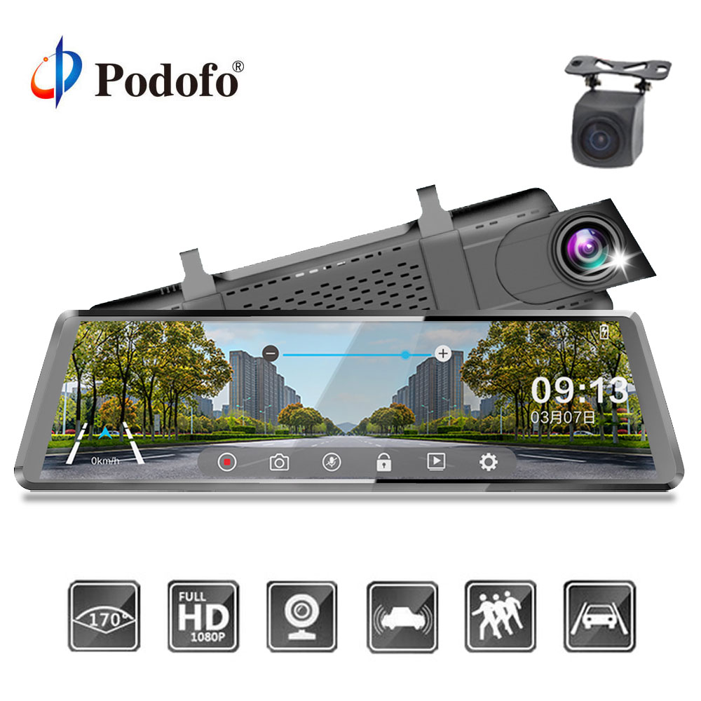 Podofo Car Dvr Stream RearView Mirror Dual Lens dashcam Registrator 10'' IPS Touch Screen FHD 1080P Car Video Recorder mirror podofo dvrs 10 touch ips 3g android mirror gps fhd 1080p dual lens car dvr wifi video recorder rearview mirror dashcam recorder