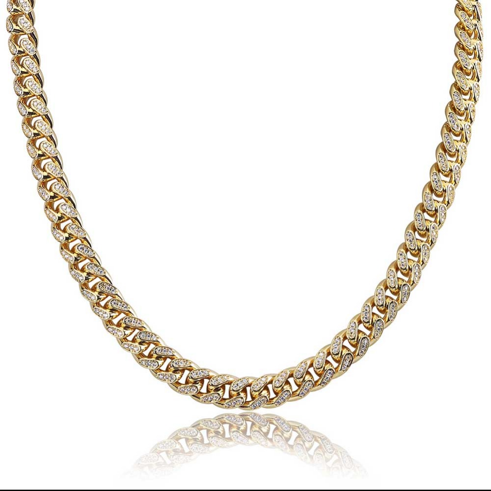 JINAO Miami 10mm Gold Silver Color Cubic Zircon Cuban Chain Necklace Charm For Men Micro Pave Hip Hop Trendy Jewelry GiftsJINAO Miami 10mm Gold Silver Color Cubic Zircon Cuban Chain Necklace Charm For Men Micro Pave Hip Hop Trendy Jewelry Gifts