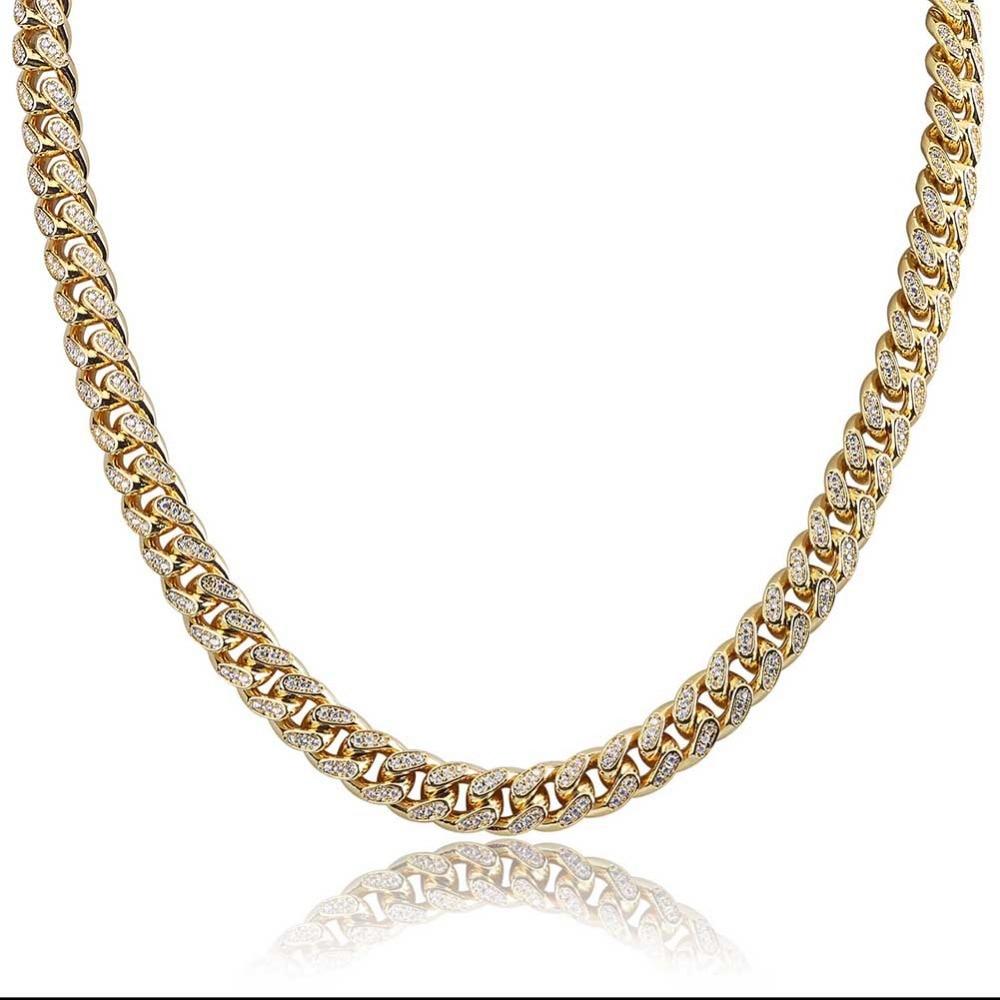 JINAO Miami 10mm or argent couleur cubique Zircon chaîne cubaine breloque collier pour hommes Micro Pave Hip Hop bijoux à la mode cadeaux