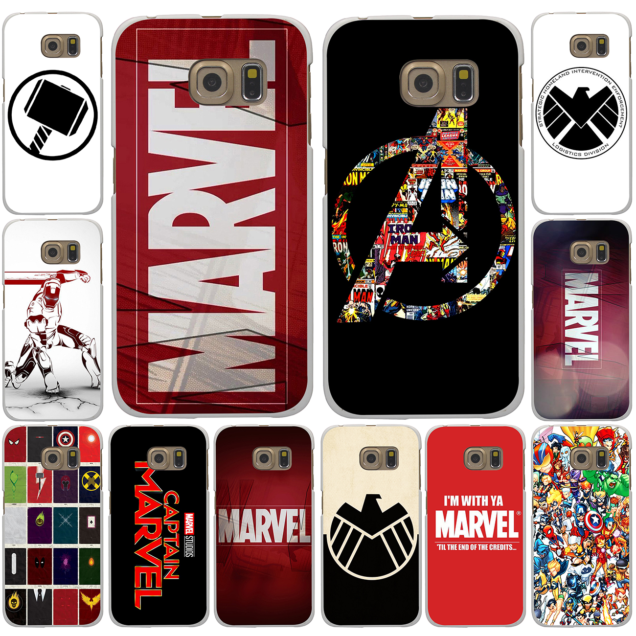 Pu leather case for samsung galaxy a7 2016 a710 peacock feather - Luxury Marvel Comics Logo Hard White Case Cover For Galaxy A3 A5 7 8 J5 7