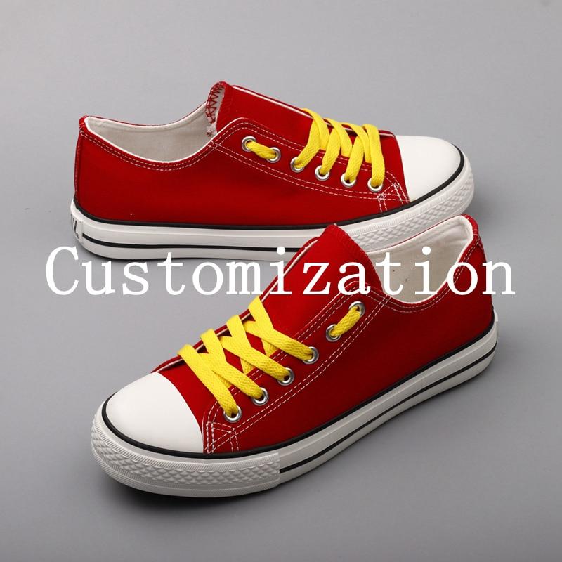 Мода печатных Колледж студентов поклонников парусиновая обувь по индивидуальному заказу с низким верхом повседневные туфли на плоской под...