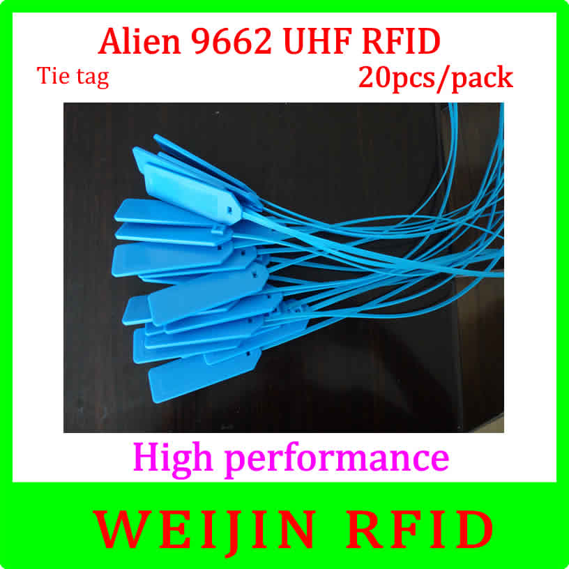 UHF RFID tape lable 915MHz EPC Alien authoried 9662 20 pcs per pack free shipping Alien Higgs3 long distance passive rfid tags 1000pcs long range rfid plastic seal tag alien h3 used for waste bin management and gas jar management