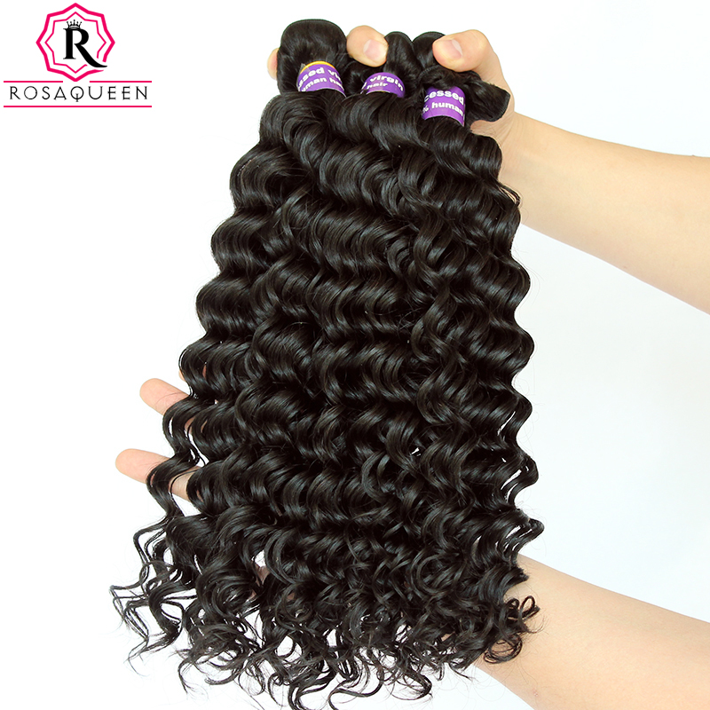 Malaysian Virgin Hair Deep Wave Bundles 100% Human Hair Weave Bundles Extensions Natural Black Color Rosa Queen Hair Products