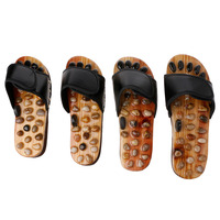 THINKTHENDO 2018 New 1 Pair Sandal Reflex Massage Slippers Natural Stone Foot Healthy Massager Shoes Women