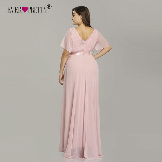 Plus Size Pink Prom Dresses Long Ever Pretty V-Neck Chiffon A-line Robe De Soiree 2019 Navy Blue Formal Party Gowns for Women 2