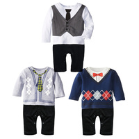 2016 fashion baby boys clothes exclusive tie jumpsuit gentleman bow leisure one-pieces jumpsuit newborn baby rompers