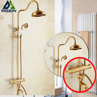 2017 Newly Temperature Control Shower Faucet with Thermostatic Mixer Valve + Tub Spout + Handshower Brass Antique Shower Mixers