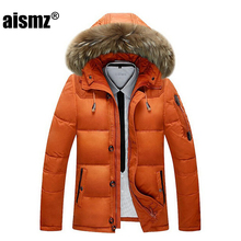 Aismz New Fashion Men's Winter Jacket -30 Degree Snow Outwear Men Warmth Thermal Hooded Snow Coats Male Solid Down Coats M-3XL