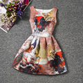Summer Fashion Peacock Girl Flower Dress Tutu Christening Sleeveless Robe Fille Casual Print Series Dresses Kids 12 Years Old